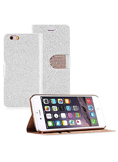 Microsonic Pearl Simli Taşlı Deri iPhone  6 (4.7) Kılıf Beyaz Renkli